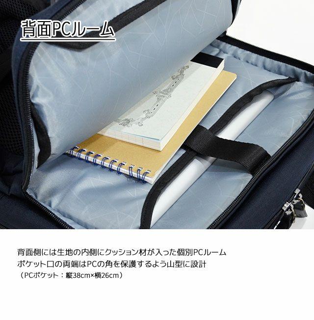 ネオプロ・コネクトのBackPackの背面側は、生地の内側にクッション材が入った個別PCルーム。ポケット口の両端はPCの角を保護するよう山型に設計。PCポケット:縦38cm×横26cm。