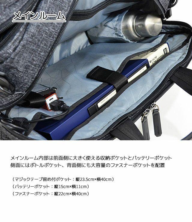 ネオプロ・コネクトの3wayPackのメインルームには、前面側に大きく使える収納ポケットとバッテリーポケット。側面にはボトルポケット、背面側にも大容量のファスナーポケットを配置。マジックテープ留め付ポケット:縦23.5cm×横40cm、バッテリーポケット:縦15cm×横11cm、ファスナーポケット:縦22cm×横40cm。