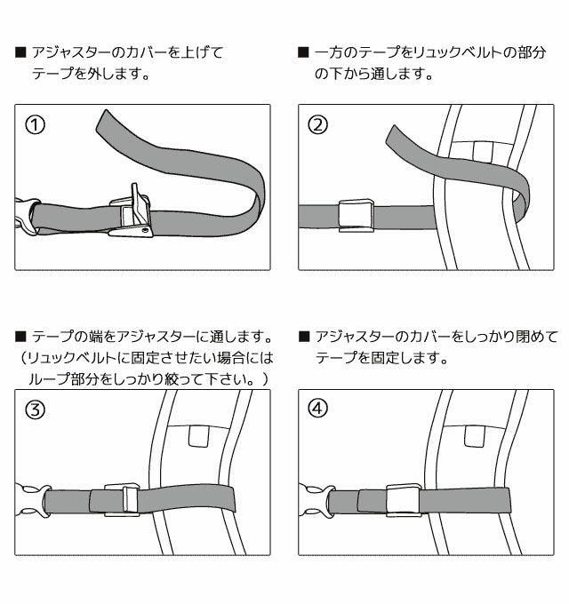 ネオプロのチェストベルト 使用方法。アジャスターのカバーを上げて テープを外します。一方のテープをリュックベルトの部分 の下から通します。テープの端をアジャスターに通します。(リュックベルトに固定させたい場合にはループ部分をしっかり絞って下さい。)アジャスターのカバーをしっかり閉めて テープを固定します。