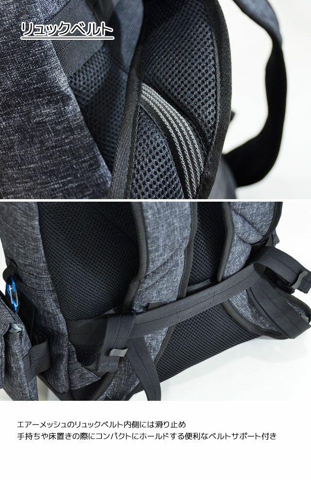 ネオプロ・レッドのThinPackは、リュックベルトにはエアーメッシュのリュックベルト内側には滑り止め。手持ちや床置きの際にコンパクトにホールドする便利なベルトサポート付き。