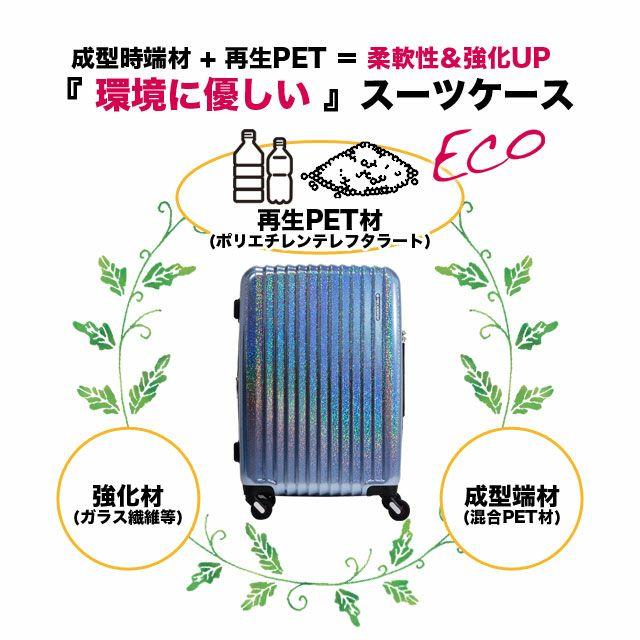 フリクエンターのリフレクト・ビジネスキャリーは、成型時端材 + 再生PET = 柔軟性&強化UP『 環境に優しい 』スーツケース。再生PET材(ポリエチレンテレフタラート)、強化材(ガラス繊維等)、成型端材(混合PET材)。柔軟性があり耐衝撃に強く、リサイクルが可能で加熱時にCO2を排出しない「ポリエチレンテレフラタート(PET)」を本体素材として使用。限りある地球資源の節約・再生利用への貢献とロープライスを実現。