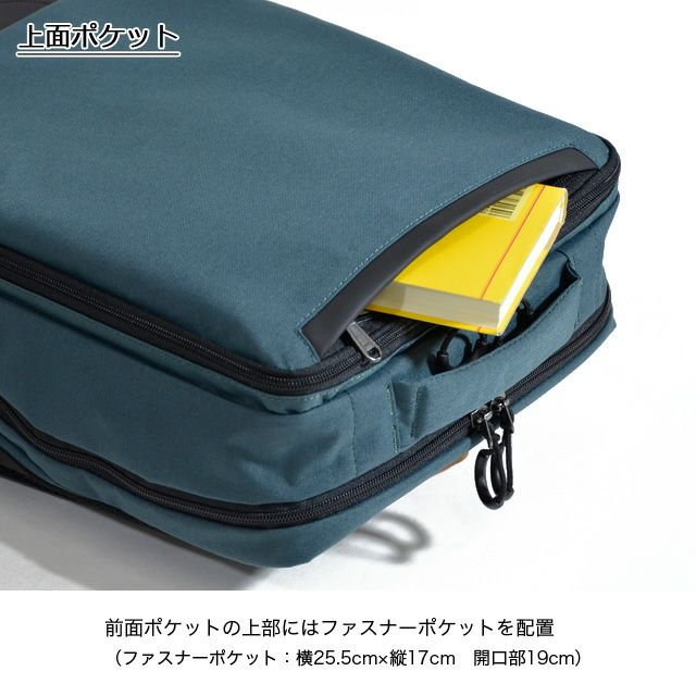ネオプロの軽量リュックの上面はファスナーポケットが付いています。 ファスナーポケット: 横25cm x 縦17m。ファスナーポケット開口: 横19cm。
