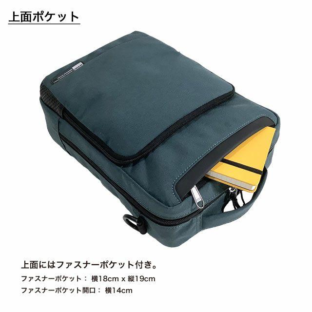 ネオプロの軽量ショルダーバッグの上面はファスナーポケットが付いています。 ファスナーポケット: 横18cm x 縦19cm。ファスナーポケット開口: 横14cm。
