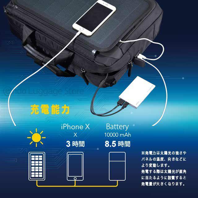 ネオプロのソーラードライブリュックの充電能力は、iPhoneXをおよそ3時間で充電でき、10000mAhのモバイルバッテリーを8時間半で充電できます。