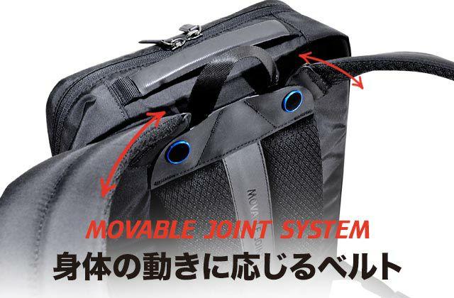 身体の動きに応じるリュックベルト。ジョイント部分が可動するオリジナルパーツのMOVABLE JOINTは、 アルマイト加工を施しブルーに輝く。